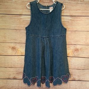 Gymboree Blue Jean Dress with Pink Hearts Size 8